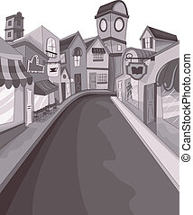 Street Buildings - Illustration of an Empty Street...