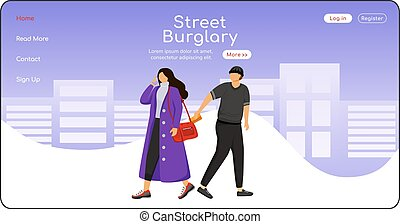 Street burglary landing page flat color vector template. ...