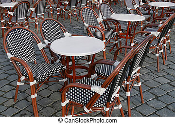 Street cafe, chairs and tables