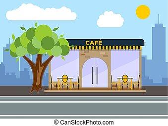 Street cafe. City landscape concept. Flat design. Vector illustration.