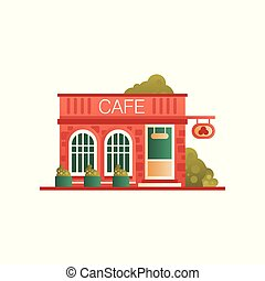 Street cafe, city public building, front view vector Illustration on a white background