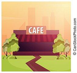 Street Cafe. Coffeeshop. City cafe. Flat design concept....