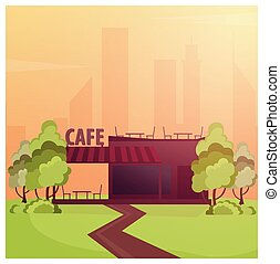 Street Cafe. Coffeeshop. City cafe. Flat design concept....