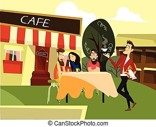 Street cafe concept vector illustration