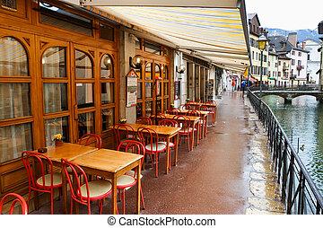 Street cafe - Empty street cafe on a rainy day