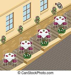 Street cafe. Flat 3d vector isometric illustration.