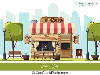 Street Cafe. Flat design concept