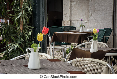 Street Cafe - Flowers at a street cafe in Lisbon Portugal