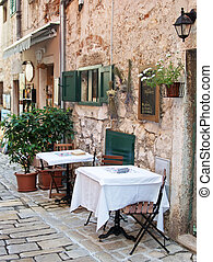 Street cafe in old town Rovinj