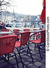 street cafe in the famous French city Honfleur