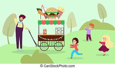 Street cafe national urban park, garden city fast food shop ...