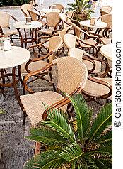 street cafe neer Port in Porto Azzurro on Elba Island, Italy.