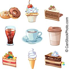 Street cafe products vector cartoon set. Chocolate, cupcake, cake, cup of coffee, donut, cola and ice cream