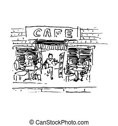Street cafe. Vector illustration isolated on white