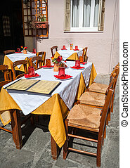 Street cafe with menu on the table