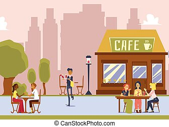 Street cafe with outdoor seating - cartoon waiter serving drinks to women