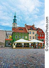 Street cafes on Old Market Square in Poznan