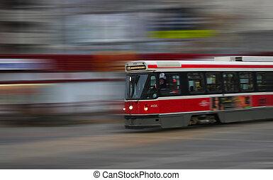 Street Car - street trams on toronto street in motion blur
