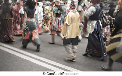 street carnival parade,special lens blur