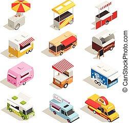 Street Carts Trucks Isometric Icon Set