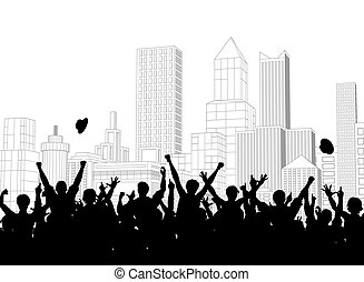 Street celebration - Editable vector silhouette of a crowd...