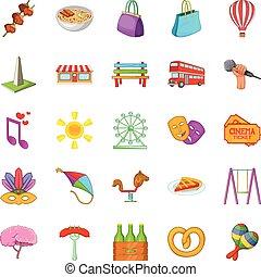 Street celebration icons set, cartoon style