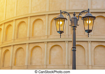 Street Classic Lamp With Ancient Building, Vintage Concept Background