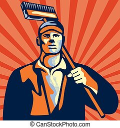 Street Cleaner Holding Broom Front Retro