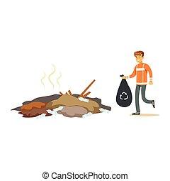 Street cleaner man in a orange uniform holding black bag...