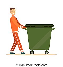 Street cleaner man in a orange uniform taking out a container with garbage, waste recycling and utilization concept vector Illustration