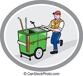Street Cleaner Pushing Trolley Oval Cartoon