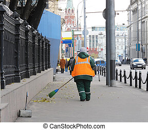 Street Cleaner - The image of street cleaner on the Moscow...