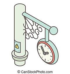 Street clock icon, isometric style