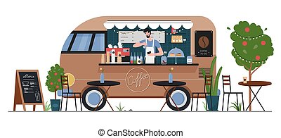 Street coffee food truck shop vector illustration. Cartoon flat fastfood cafe delivery car van machine with man hipster seller character, coffee service in summer city street market isolated on white