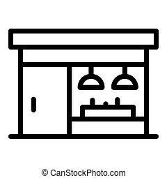 Street coffee shop icon, outline style