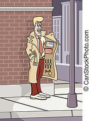 Street Corner Salesman - Vector illustration of a street ...