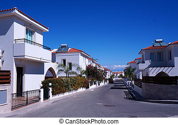 Street cottages in the small seaside town of Cyprus