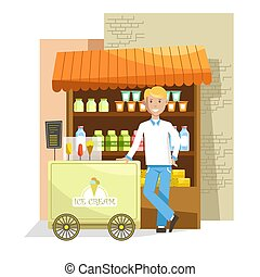 Street counter and trolley with delicious ice cream and seller