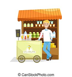 Street counter and trolley with delicious ice cream and seller.