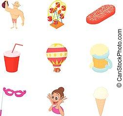 Street craze icons set, cartoon style - Street craze icons...