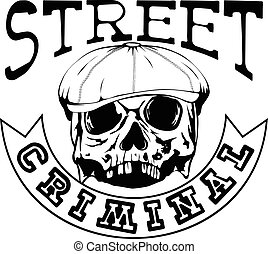 street criminal 3 - Vector illustration skull in cap with ...