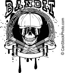 street criminal - Vector illustration skull in cap with...