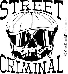 street criminal_4 - Vector illustration skull in cap with...