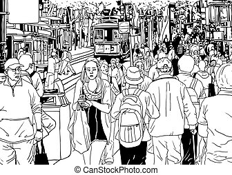 Street Crowd People in the City Drawing Vector