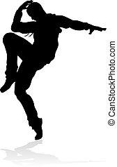 Street Dance Dancer Silhouette - A male street dance hip hop...