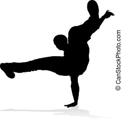 Street Dance Dancer Silhouette - A male street dance hip hop...