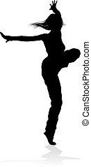 Street Dance Dancer Silhouette - A woman street dance hip...