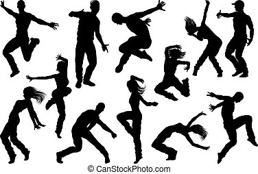 Street Dance Dancer Silhouettes - A set of men and women...