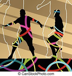Street dancers young active and healthy people silhouettes vector background