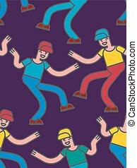 Street dancing seamless pattern. Guy dancing background